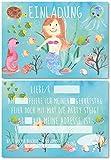 12 Einladungskarten für Kindergeburtstag Meerjungfrau/Schwimmen/Pool-Party oder Unterwasser-Welt/Format DIN A6