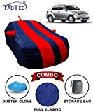 #9: Fabtec Car Body Cover for Maruti Swift Dzire 2012 Red & Blue with Mirror Antenna Pocket, Storage Bag & Microfiber Glove Combo