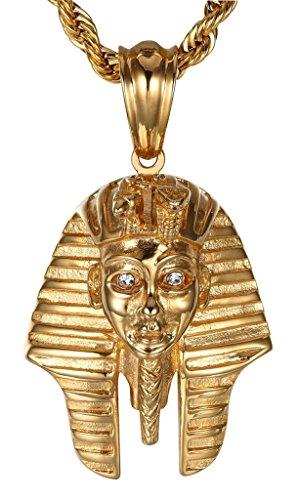 Epinki Herren Halsketten, Edelstahl Vintage Gold Ägyptische Pharao Kettenanhänger