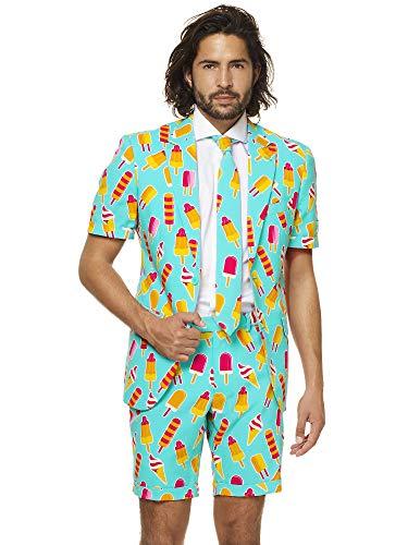 Opposuits Anzug für Herren besteht aus Sakko, Hose und Krawatte mit EIS am Stiel ()