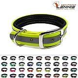 LENNIE BioThane Halsband, gepolstert, Dornschnalle, 25 mm breit, Größe 32-40 cm, Neon-Gelb-Reflex, Aufdruck möglich