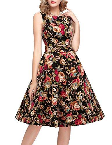 OTEN Women's Floral Vintage Tea Dress Rockabilly Party Cocktail Dresses