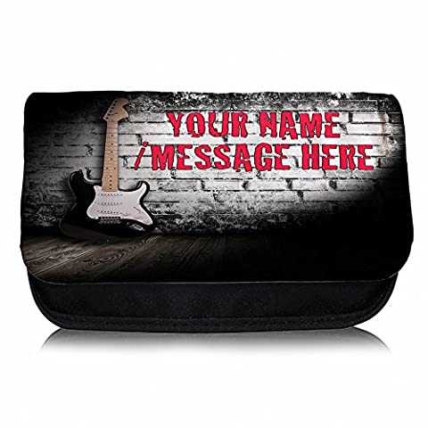 Personalised Guitar Brick Wall Sh122 Pencil Case / Small Wash Bag / Glasses Medication Carrier