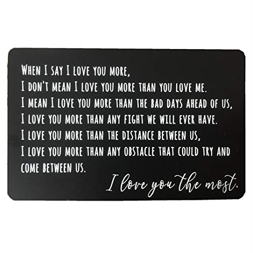 Geldbörseneinlage mit Gravur, für Jahrestag, Geschenk für Männer, Geldbörse aus Metall, Mini-Glückwunschkarte, Jahrestagskarten für Ehemann, Freund, Einsatzgeschenk Black-2 with free gift envelope