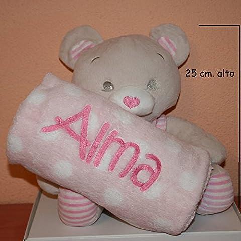 PRIMERAEDAD/Peluche oso más manta personalizada con nombre bebé/color rosa/
