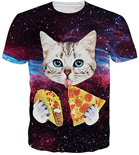Idgreatim Frauen Männer Universum Sternenhimmel 3D Gedruckt Sommer Casual Kurze Pizza Cat Sleeve T Shirts