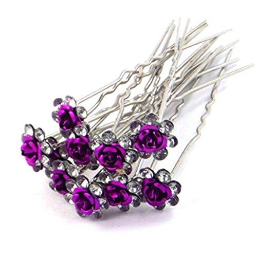 Accessoires cheveux coiffure mariage 1 lot de 5 épingles à chignon fleurs à strass violet foncé