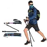 Bastón de Senderismo Extensible (Aleación de aluminio, 3 tramos, anti-choque, agarre ajustable, correa de muñeca, para trekking, viaje) (El paquete contiene un producto)