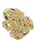 Golden Style Frosch-Ring mit Kristallen