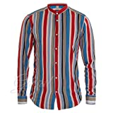 Giosal Camicia Uomo Righe Sottili Colorate Collo Coreano MOD Fluida Casual C1369A-XL