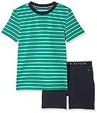 Tommy Hilfiger Jungen Zweiteiliger Schlafanzug Short Set SS Stripe, Grün (Green Lake/Navy Blazer 926), 128 (Herstellergröße: 8-10)