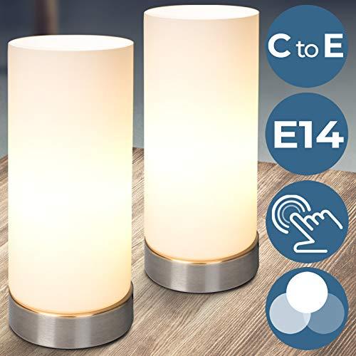 Tischlampe mit Dimmer Touchfunktion | EEK: C bis E, 1er oder 2er Set, E14, mit Berührungssensor | Nachttischlampe,Tischleuchte, Nachttischleuchte | für Wohnzimmer, Schlafzimmer, Kinderzimmer (2er) (Groß Nachttische Schlafzimmer-set Von 2)