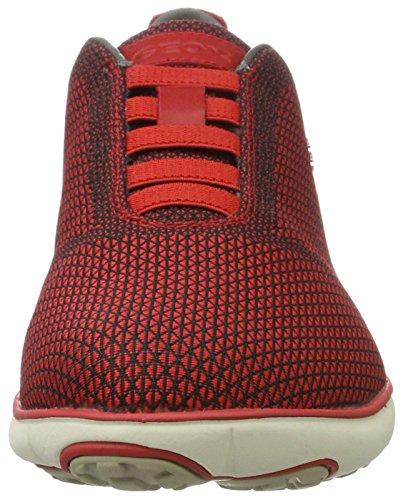 Geox U Nebula B, Baskets Basses Homme Rouge (Black/Redc0048)