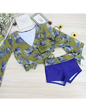 ZHANGYONG*Bikini set di 3 pezzi a maniche lunghe per la protezione solare angolo piatto pantaloni e spa i costumi...