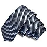 GASSANI Graue schmale dünne 5cm Krawatte gestreift | Skinny Herrenkrawatte Dunkel-Graue zum Sakko Anzug | Schlips Binder einfarbig mit Streifen