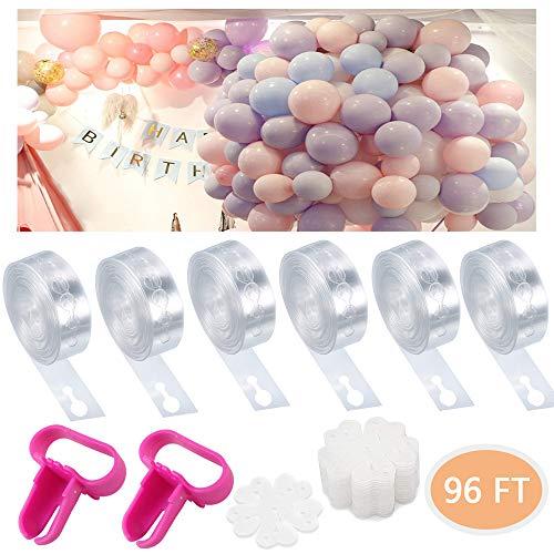 Luftballon Tape Ballon Bogen Garland Strip Kit mit 10 Stück Blume Form Ballon Clips, 2 Ballon Bindewerkzeug, für Hochzeit Geburtstag Party Dekoration ()