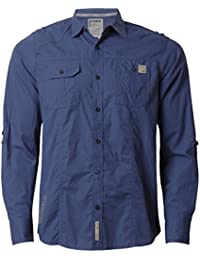 Dissident 1H 4918 Chemise en coton à manches longues et retroussables pour homme, Bleu, X-Large