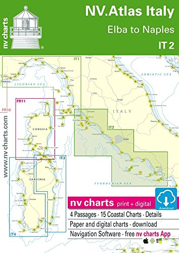NV.Atlas Italy IT 2 - Elba to Naples | Seekarte Italien Papier & Digital [ NV Verlag / nv charts]
