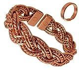 Magnetarmband Stark Gefärbt Kupfer Verdreht Plissiert mit Sanftem Magnetischem Kupfer Set - Große Ringgröße: 22-25mm