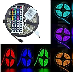 amiciKart SMD 5050 RGB LED Strip Light, 5 Amps DC Adapter, Waterproof, 44 Key Remote (5 M)