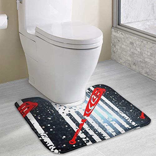 Hoklcvd Baseball Softball Amerikanische Flagge U-förmige Toilette Bodenteppich Rutschfeste Toilette Teppiche Duschmatte Baseball-stein