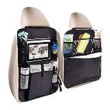 WZTO 2 Pezzi Sedile Auto Organizer, Impermeabile Protezione Sedile Auto Bambini Posteriore con Multi-Tasca dell'Organizzatore Supporto per Tablet con Scatola di Tessuto/Tavola Degli Snack(Nero)
