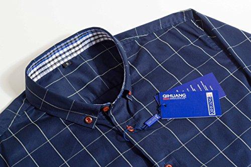 Schonlos Herren Hemd Kariert Kentkragen Langarm Shirts Regular Fit Businesshemd Freizeithemd Aus Baumwolle Dunkelblau