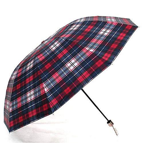 FERZA Home Paraguas Pliegues UV Tela Escocesa Tres