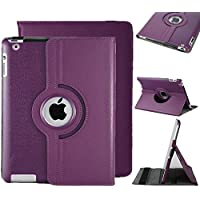 Excellent Style Apple Ipad air (2013-14)/ Ipad 5 360 Rotating Magnetic PU Leather Case (Deep Purple) Smart Cover Stand for Apple Ipad air (2013-14)/ Ipad 5