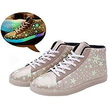 LJ Sport Fluoreszierende Schuhe Unisex Blink Schuhe Schnürsenkel High Hilfe Schuhe Leucht Schuhe Sternmuster Paare Schuhe Turnschuhe