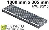 Fenau | Gitterrost-Stufe (R11) XSL – Maße: 1000 x 305 mm - MW: 30 mm / 10 mm - Vollbad-Feuerverzinkt – Stahl-Treppenstufe nach DIN-Norm | Fluchttreppen geeignet/Anti-Rutsch-Wirkung