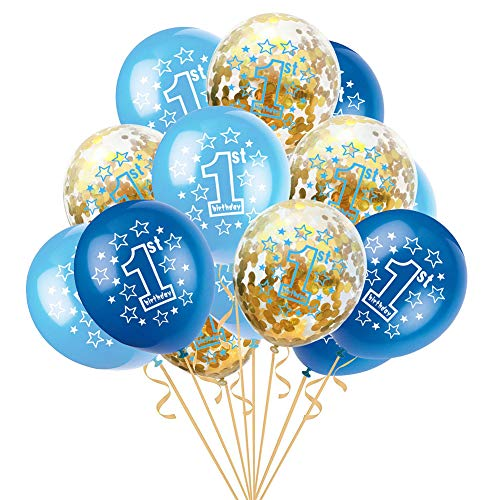 Leisial. Conjunto de Niños Bebés Globo Látex de 1 año Patrón de Estrella para Decoraciones de Primer Cumpleaños Fiesta Aniversario Boda 12 Pulgadas