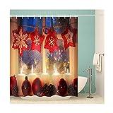 AieniD Badezimmer Dekoration Beige Heiligabend Bunt Bad Vorhang Size:180X200CM