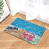 SRJ2018 Strohhut-Sonnenbrille Trinken und Hausschuhe auf Cyan-Boards vor dem Pool Super saugfähig, Rutschfeste Matte oder Fußmatte, weich und bequem
