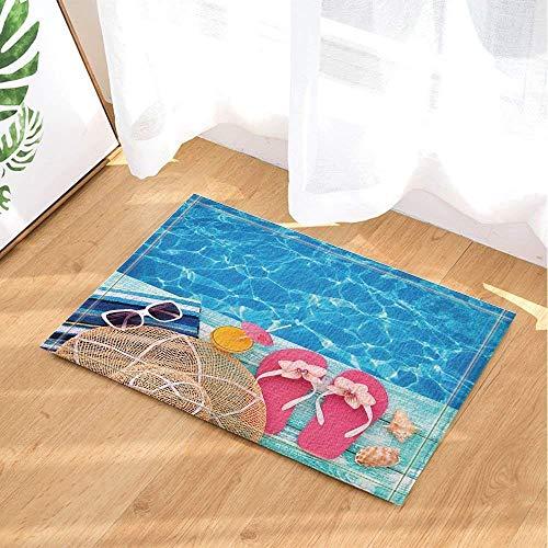fdsdatrfet Schönes blaues Meer weiße gewellte Wasser-Muster-niedliche Karikatur-Rosa-Pantoffel-weiße Grenzsonnenbrille-Gelb-Getränk-Strohhut Shell Conch Green Wood Grain Coast