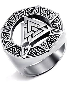 DALARAN Edelstahl Ringe für Männer Odin Symbol Valknut Scandinavn Norse Viking Biker Ringe
