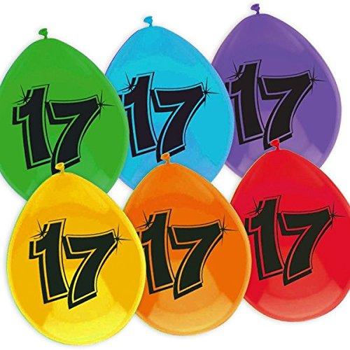 Haza Bunte Luftballons Zum 17. Geburtstag, Ballon-Partydekoration Zum Aufhängen (Ballons 17 Geburtstag)