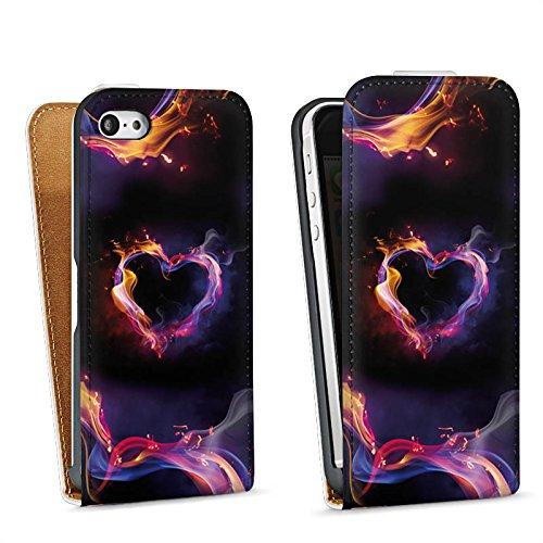 Apple iPhone 5s Housse Étui Protection Coque Amour Amour C½ur Sac Downflip blanc