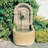 Gartentraum Kleiner Deko Gartenbrunnen mit Löwe - Favory, Ocker