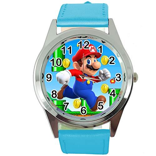TAPORT® Reloj de Cuarzo Azul Banda de Cuero para Mario Fans E2