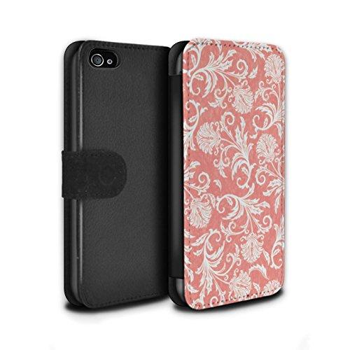 Stuff4 Coque/Etui/Housse Cuir PU Case/Cover pour Apple iPhone 4/4S / Fleurs Jaunes Design / Fleurs Collection Fond Rouge