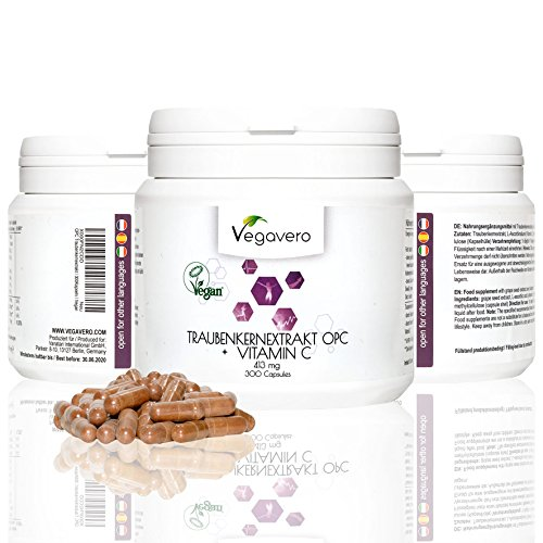 OPC Traubenkernextrakt | 300 Kapseln | nur 1 Kapsel pro Tag | aus französischen Trauben | Laborgeprüft mit Zertifikat | Starke Antioxidantien | Vegan | ohne chemische Zusätze | Vegavero: from Nature - with Passion – for You!