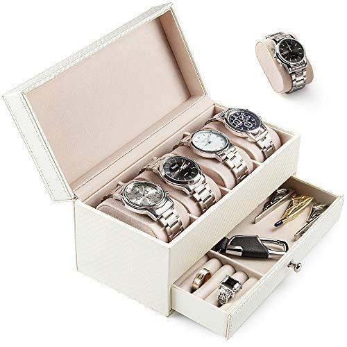 Scatola porta orologi custodia per orologi scatola di orologio con 4 cuscinetti rimovibili orologi box storage e cassetto per gioielli-scatola per orologi a doppio strato (bianco-x01)
