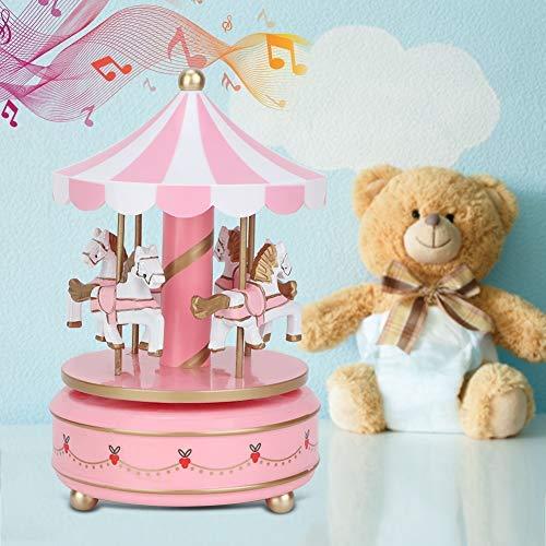 AUNMAS Carrusel Caja de música Juguete para niños Merry-Go-Round Caja de música para Navidad Boda Regalo de cumpleaños Regalo de niña Decoración para el hogar (1#)
