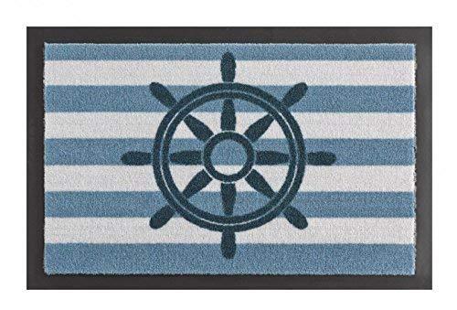 Hanse Home Fußmatte Schmutzfangmatte Steuerrad Blau Weiß, 40x60 cm