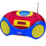 Tragbares Kinderradio mit CD-Player Stereoradio Mikrofon Kinder-Stereoanlage (Kinder-Wecker, LCD-Display, USB-Port, bunt, Stereolautsprecher)
