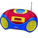 Tragbares Kinderradio mit CD-Player Stereoradio Mikrofon Kinder-Stereoanlage (Kinder-Wecker, LCD-Display, USB-Port, bunt, Stereolautsprecher)