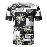 2018 GreatestPAK Sommer African Print T-Shirt Rundhalsausschnitt Pullover Kurzarm T Shirt Top Bluse Herren