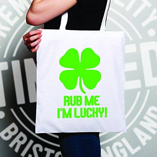 Rub Me Sono fortunato Shamrock fortuna dello slogan Irish Clover divertente Sacchetto Di Tote White