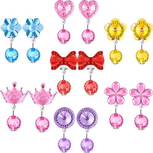 (Hicarer 7 Paar Crystal Clip auf Ohrringe Mädchen Prinzessin Schmuck Ohrring und 7 Paar Ohrringe Pad in Rasa-Box)